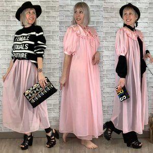 1960s Nightgown & Robe Set 2-Piece w Flower Vntg